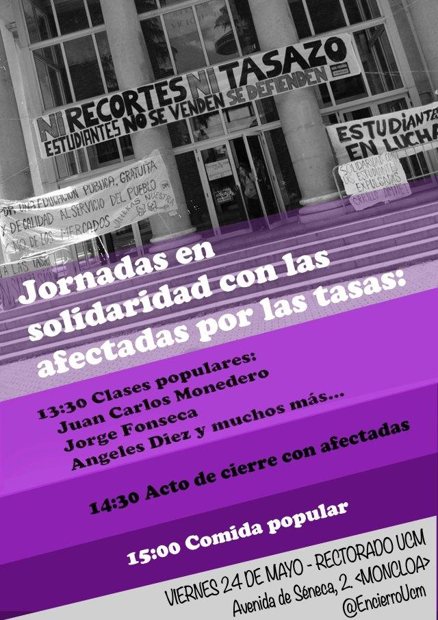 Viernes 24: Jornada en solidaridad con las afectadas por las tasas